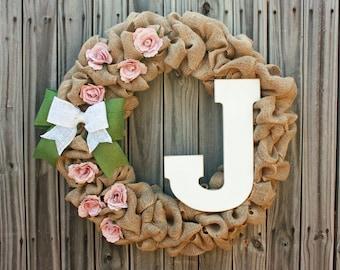 Beautiful custom monogram spring / summer burlap rose wreath