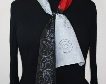 Grey Silk Scarf. Red Hand Painted Silk Shawl. Black Handmade Silk Scarf VIBRANT SOUL. Size 8x54. Birthday, Anniversary Gift. Gift-Wrapped.
