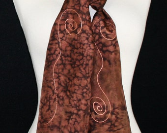 Hand Painted Silk Scarf. Brown Handmade Silk Scarf CHOCOLATE LEOPARD. Size 11x60. Anniversary Gift, Mother Gift. Gift-Wrapped.