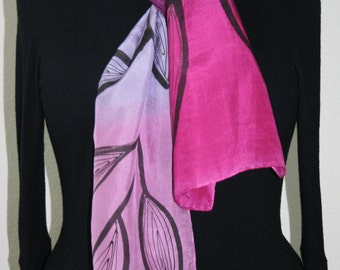 Pink Silk Scarf. Lavender, Black Hand Painted Silk Shawl. Silver Handmade Silk Scarf GARDEN OF LOVE. Size 8x54. Birthday, Bridesmaid Gift.
