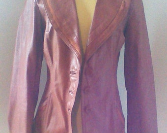 70's Genuine Leather Jacket by Tall Girls International made in Korea