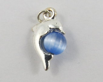 Dolphin Encircling a Blue/White Stone Mechanical Silver Vintage Charm For Bracelet