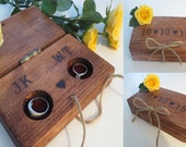 Personalized Rustic Wooden Wedding Ring Bearer Pillow Box