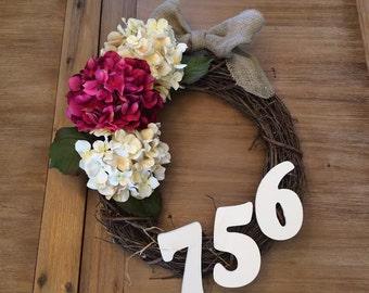 Fall Rustic Address Wreath - Three hydrangeas with wood house numbers