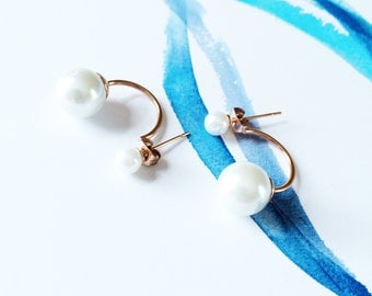 Pearl Drop Earring 18K Rose Gold Pearl Earring Simple Elegant Pearl Drop Earring Everyday Valentine's Wedding Bridal Mother's Day Gift