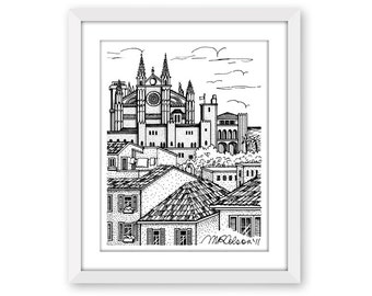 Palma de Mallorca, Pen and Ink Print, 5x7, 8x10, 11x14, 13x19, Home Decor, Pen and Ink Illustration, Wall Art, Mediterranean, Cathedral