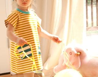 Girl Dress, Handmade Organic Cotton Knit Toddler Girl Pocket Stripe Dress, Baby Organic Dress, Jersey dress,