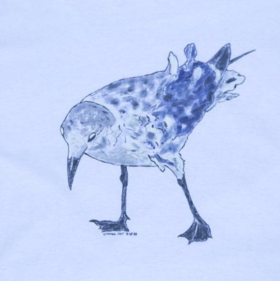 Hand-Painted Tern T-Shirt, Shore Bird, Hand-Painted Clothing, Beachwear