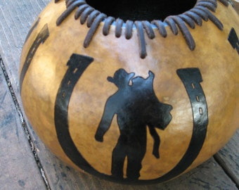 Leather Laced 4 design Horseshoe Gourd