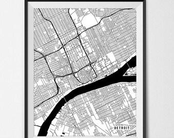 Detroit Map Art Print, Detroit City Map of Detroit Art Poster of Michigan State Map, Detroit Wall Art Home Decor