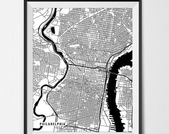 Philadelphia Map Print, Philadelphia Poster of Pennsylvania Map of Philadelphia Print Gift PA Map Philadelphia Pennsylvania Art Office Decor