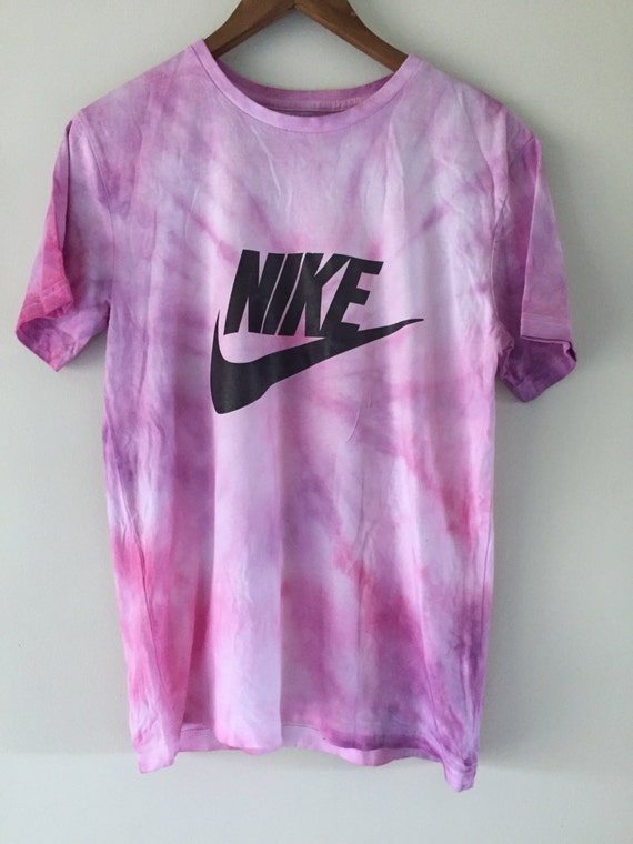Psychedelic 90s pastel pink purple tie dye nike tick tee t for Nike tie dye shirt and shorts