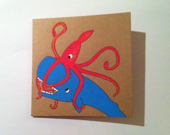 Sperm whale and giant squid card