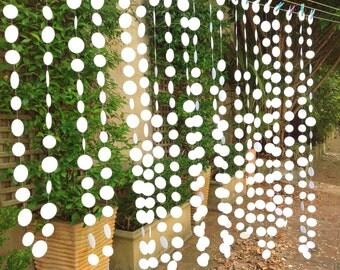 Wedding Curtain/ Paper garlands curtain/ White Paper Curtain /Event decor /Wedding decor /Birthday party decor
