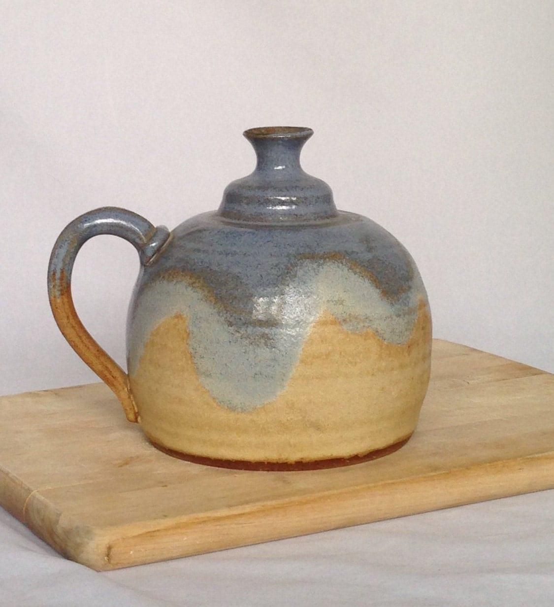 Handmade Ceramic Oil Lamps : Vintage pottery oil lamp blue handmade wheel by sunflowerbend