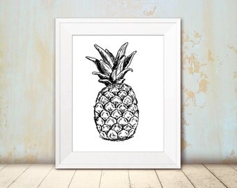 Pineapple sketch - Black and white pineapple print, Printable wall art, A4 Art print, DIY home decor, Teen room decor