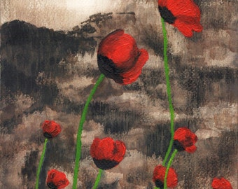 Poppies. Good quality print of original painting, 12x16 inches.