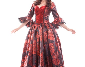 Women's Costume - Night Rose Empress - Made to Order - Luxurious, versatile historical costume suitable for Halloween or a masquerade ball.