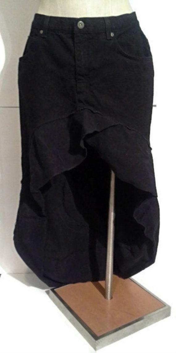 black denim high low jean skirt ruffles size 12 by