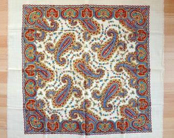 Vintage woolen shawl Woolen scarf with floral pattern #72