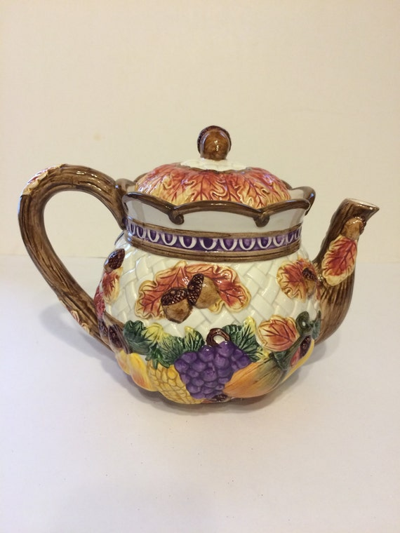 Vintage Fitz & Floyd Harvest Time Tea Pot