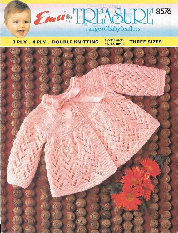 Knitting Pattern Sizes For Babies : Vintage Emu Baby Knitting Pattern Size 17 19 6 12