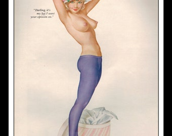 """Vargas Playboy Pinup Girl Vintage April 1963 """"Opinion"""" Sexy Blonde Nude Mature Hat Purple Pany Hose Flowers Pinup Wall Art Deco Print"""