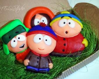 Polymer Clay, South Park, Fridge Magnet, Set of 4, Stan Marsh, Kenny McCormick, Kyle Broflovski, Eric Cartman, magnet, Gifts, clay character