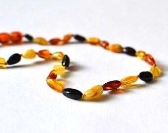 "Baltic Amber Teething Necklace 13"", Amber Teething Necklace, Baltic Amber Baby Jewelry"