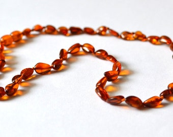 Baltic Amber Necklace for Women necklace knotted cognac polished olive beads