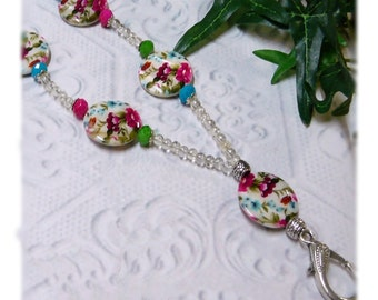 Mother of Pearl Springtime Beaded Lanyard, Work ID badge holder