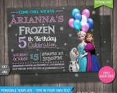 Sale - 85% OFF - Frozen Invitation - INSTANT DOWNLOAD - Printable Disney Frozen Birthday Invitation - DiY Personalize & Print - fr257