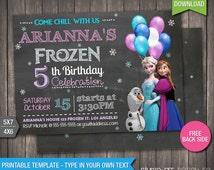 Sale - 85% OFF - Frozen Invitation - INSTANT DOWNLOAD - Printable Disney Frozen Birthday Invitation - DiY Personalize & Print - fr257