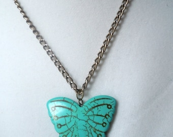 LargeTurquoise Butterfly pendant necklace hippie chic boho jewelry summer jewelry carved howlite butterfly statement pendant trendy modern