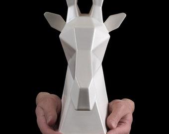 Gerard the Giraffe | White Ceramic, Animal Bust, Modern Ceramics, Trophy Head, Giraffe Sculpture, Giraffe Statue