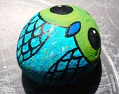 owl blue and green hand painted rock / paperweight / home decor / decoration / office decor / desk decoration / shelf decoration / nature