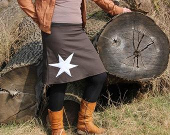 brown cotton jeans skirt,  star, stretch skirt, a-line, skirt