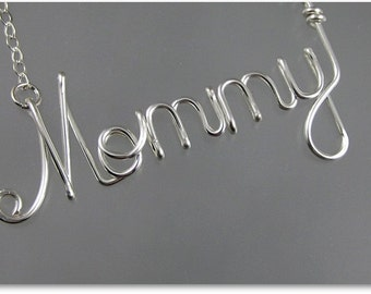 Mommy Wire Pendant Necklace