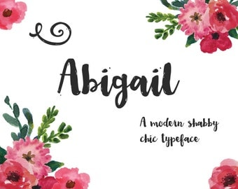Abigail Brush Font - Hand drawn cursive script - Commercial Download