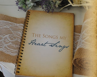 Journal Romance Love - The Songs my Heart Sings, Custom Personalized Journals Vintage Style Book