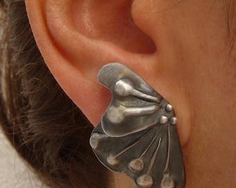 Butterfly Earrings,  Sterling Silver Earrings, Silver Jewelry, Fashion Jewelry, Handmade Earrings, Contemporary Jewelry, Oxidized  Jewelry