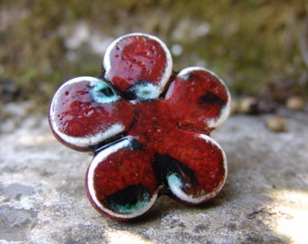 Spring flower ring in red