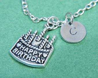Happy Birthday Cake Charm Necklace with Personalized Hand Stamped Initial Letter A-Z, Customized Monogram Charms Necklace