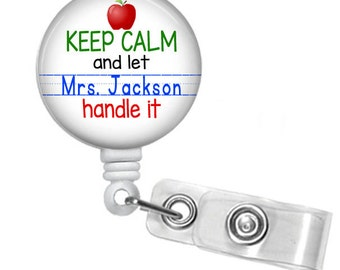Keep Calm Teacher Personalized Basic Retractable ID Badge Holder or Lanyard