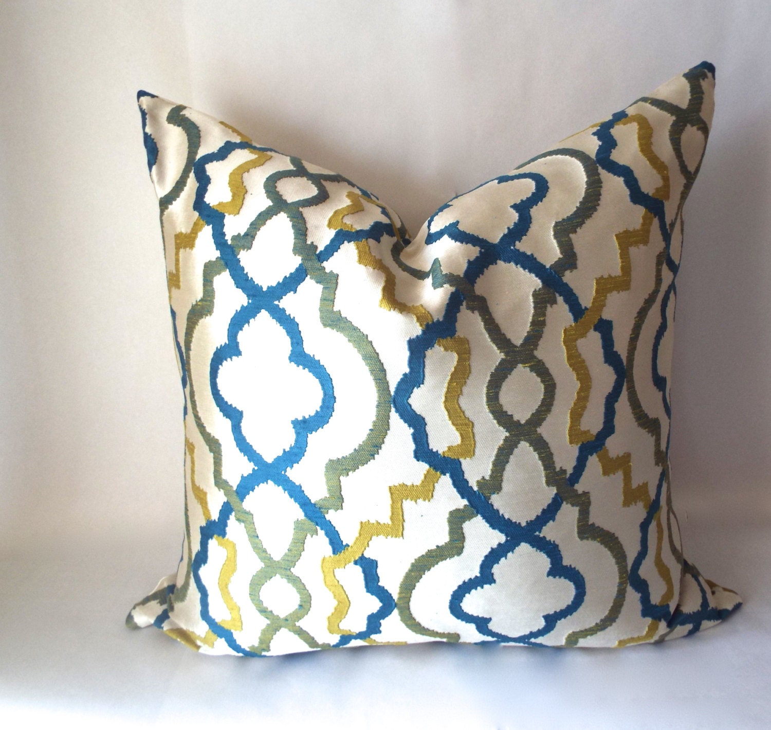 Green Throw Pillow Blue Sofa Pillow Yellow by SewDeevinePillows
