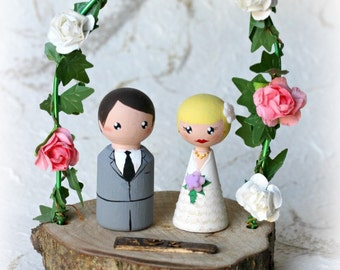 Personalized Peg doll Cake Topper: Wedding cake topper - Country cake topper - Custom Bride and Groom dolls - Rustic wedding cake topper