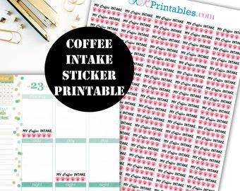 Coffee Intake Printable Planner Stickers // Erin Condren Printable / Plum Paper Planner / Planner Insert Instant Digital Download 00023