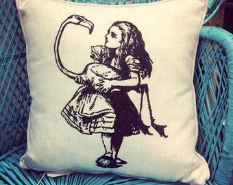 Alice In Wonderland Cushion Featuring Alice And The Flamingo