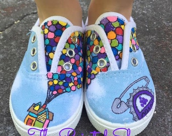 Painted Shoes - Disney Painted Shoes - Up Painted Shoes - Carl - Ellie - Grape Soda