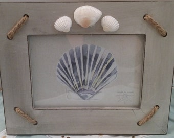 Nautical Gray Rope & Shells Frame - Handmade